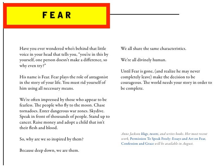 FEAR   Have you ever wondered who's behind that little         We all share the same characteristics. voice in your head ...