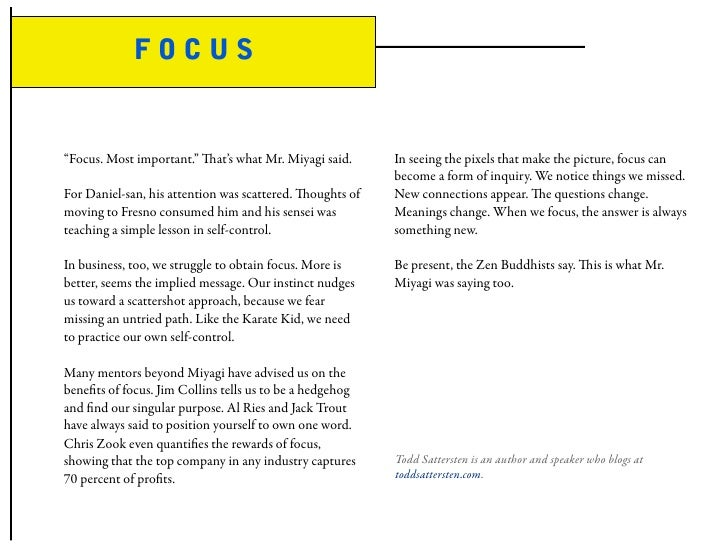 """FOCUS   """"Focus. Most important."""" at's what Mr. Miyagi said.      In seeing the pixels that make the picture, focus can   ..."""