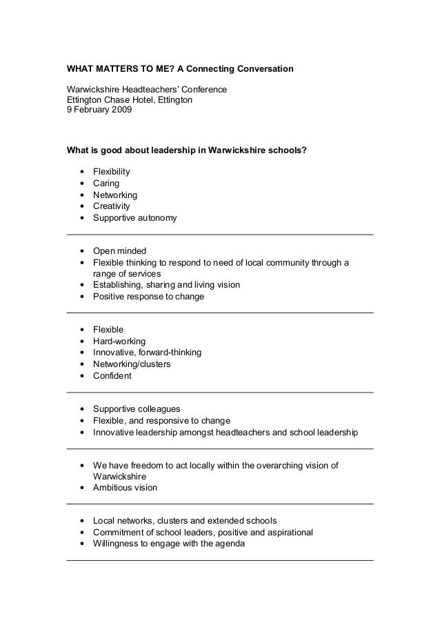 WHAT MATTERS TO ME? A Connecting Conversation Warwickshire Headteachers' Conference Ettington Chase Hotel, Ettington 9 Feb...