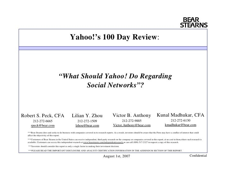 "Yahoo!'s 100 Day Review:                                        ""What Should Yahoo! Do Regarding                          ..."
