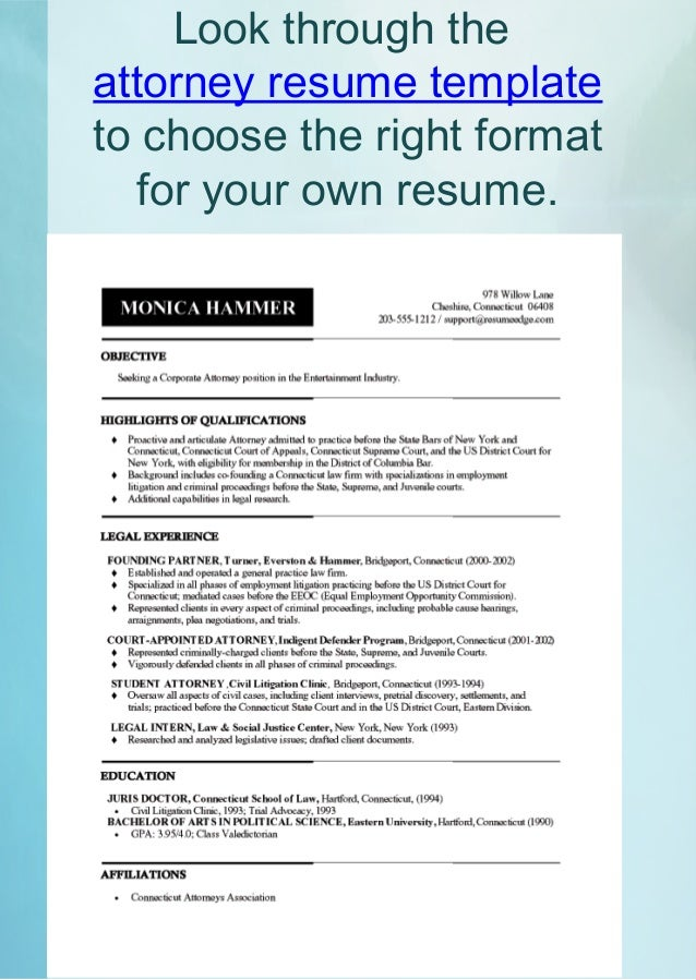 Look Through The Attorney Resume ...  What A Resume Should Look Resume