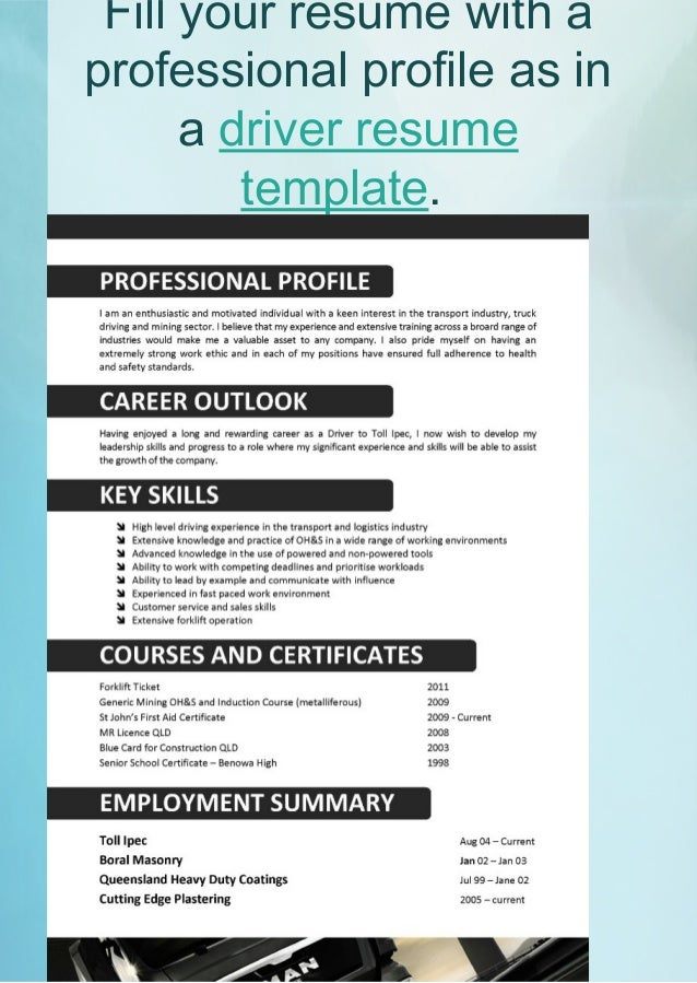 16. Fill Your Resume With A Professional Profile ...  Professional Profile Template