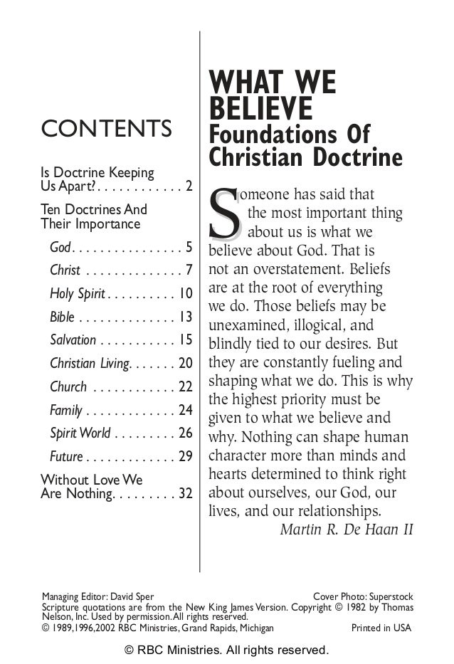WHAT WE                                          BELIEVECONTENTS                                  Foundations OfIs Doctrin...