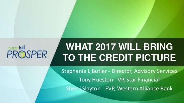 WHAT 2017 WILL BRING TO THE CREDIT PICTURE Stephanie L Butler - Director, Advisory Services Tony Hueston - VP, Star Financ...