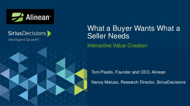 Interactive Value Creation What a Buyer Wants What a Seller Needs Tom Pisello, Founder and CEO, Alinean Nancy Maluso, Rese...