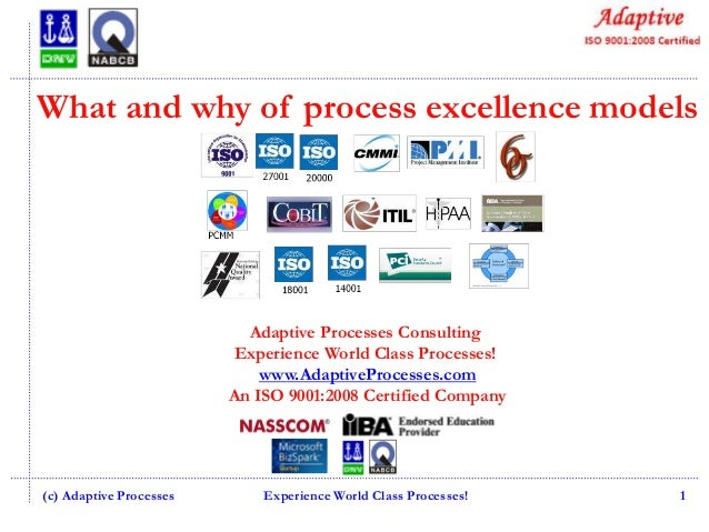 What and why of process excellence models  Adaptive Processes Consulting Experience World Class Processes! www.AdaptivePro...