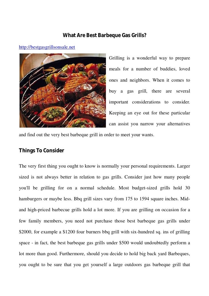 What Are Best Barbeque Gas Grills?http://bestgasgrillsonsale.net                                              Grilling is ...