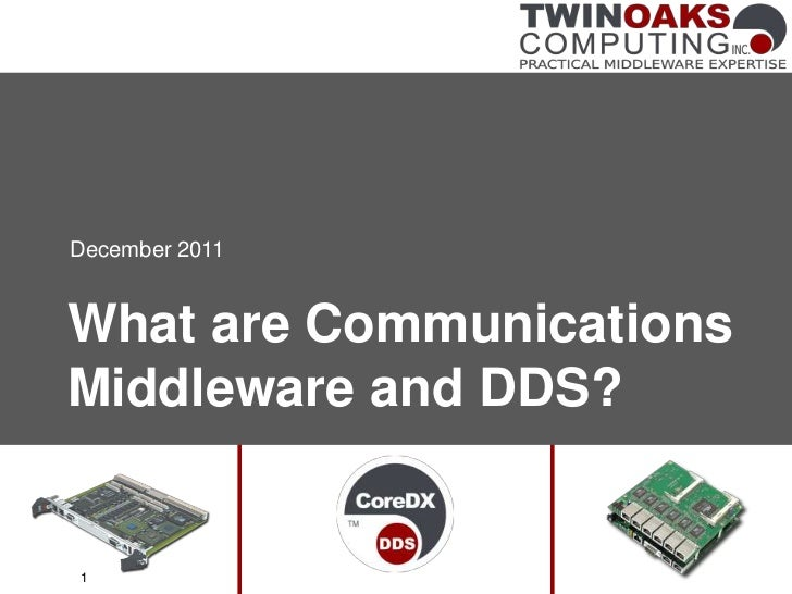 December 2011What are CommunicationsMiddleware and DDS?1