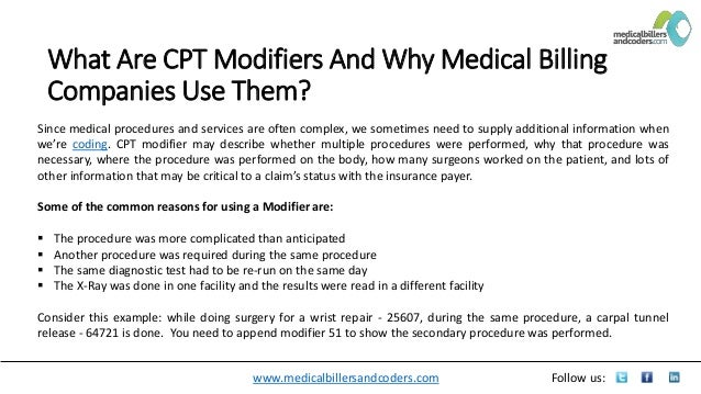 What Are CPT Modifiers And Why Medical Billing Companies Use Them?