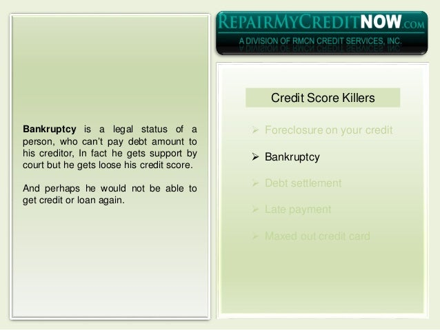  Foreclosure on your credit  Bankruptcy  Debt settlement  Late payment  Maxed out credit card Bankruptcy is a legal s...