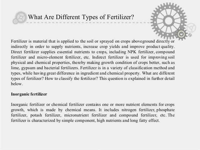 What are different types of fertilizer