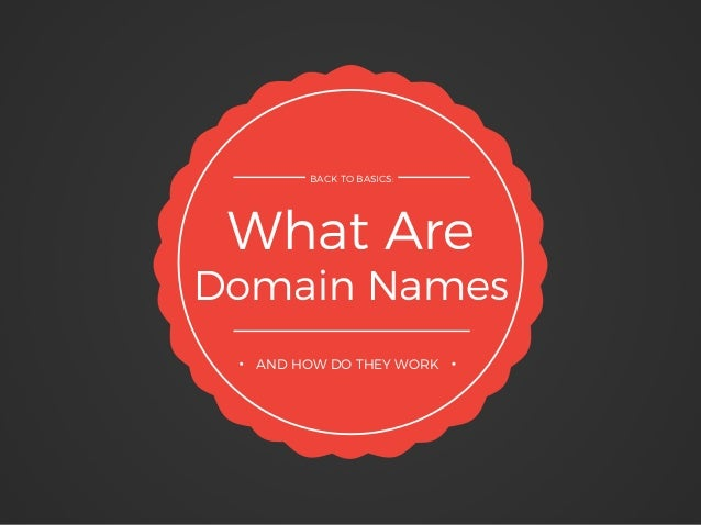 What Are Domain Names BACK TO BASICS: AND HOW DO THEY WORK