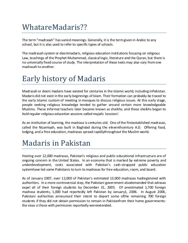 essay on madrasa education in pakistan