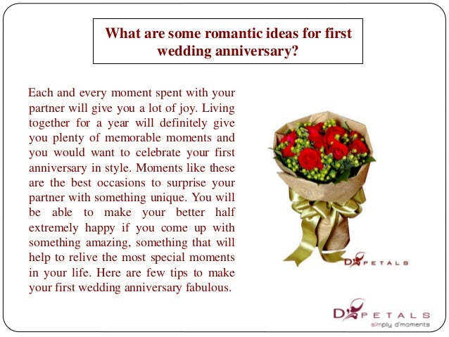 What are some romantic ideas for first wedding anniversary for What to get for first wedding anniversary
