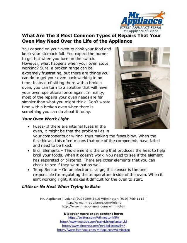 What Are The 3 Most Common Types Of Repairs That Your Oven