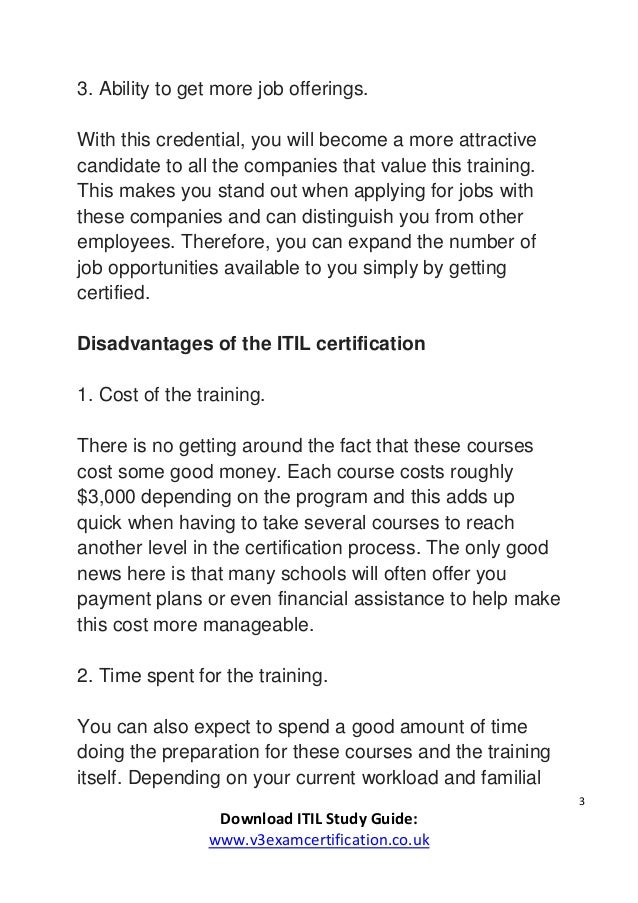 what are the advantages and disadvantages of getting an itil certific  3