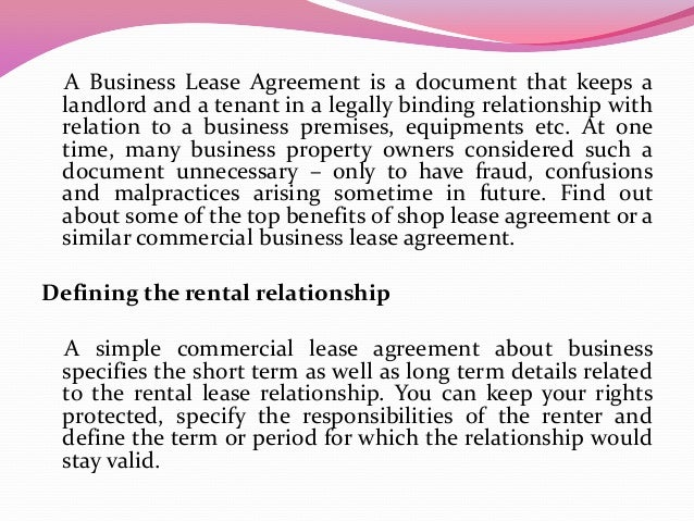 What Are The Benefits Of A Commercial Business Lease Agreement