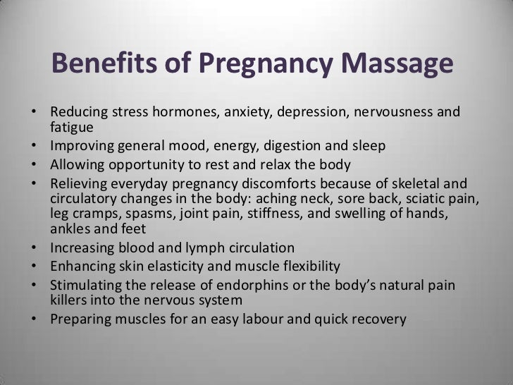 What are the benefits of pregnancy massage