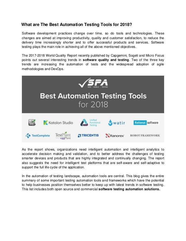 Find the Best Automation Testing Tools for 2018?
