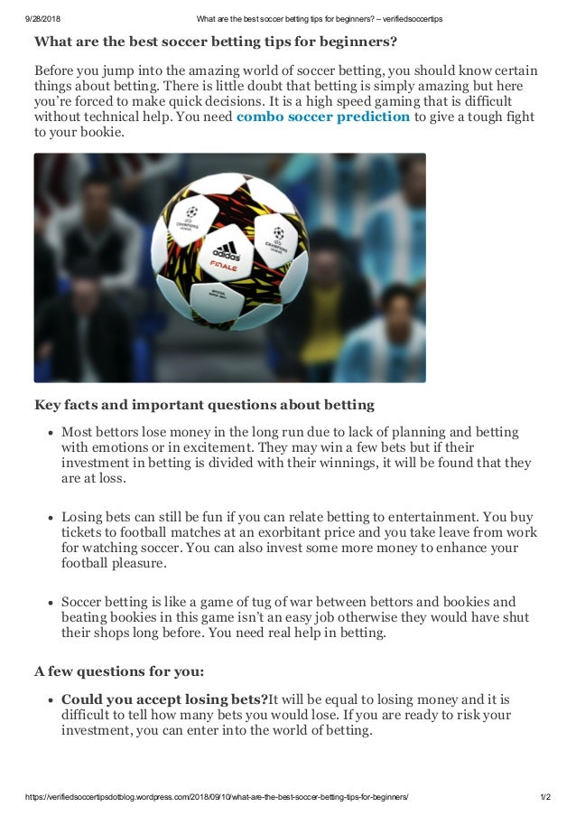 best tips for soccer betting