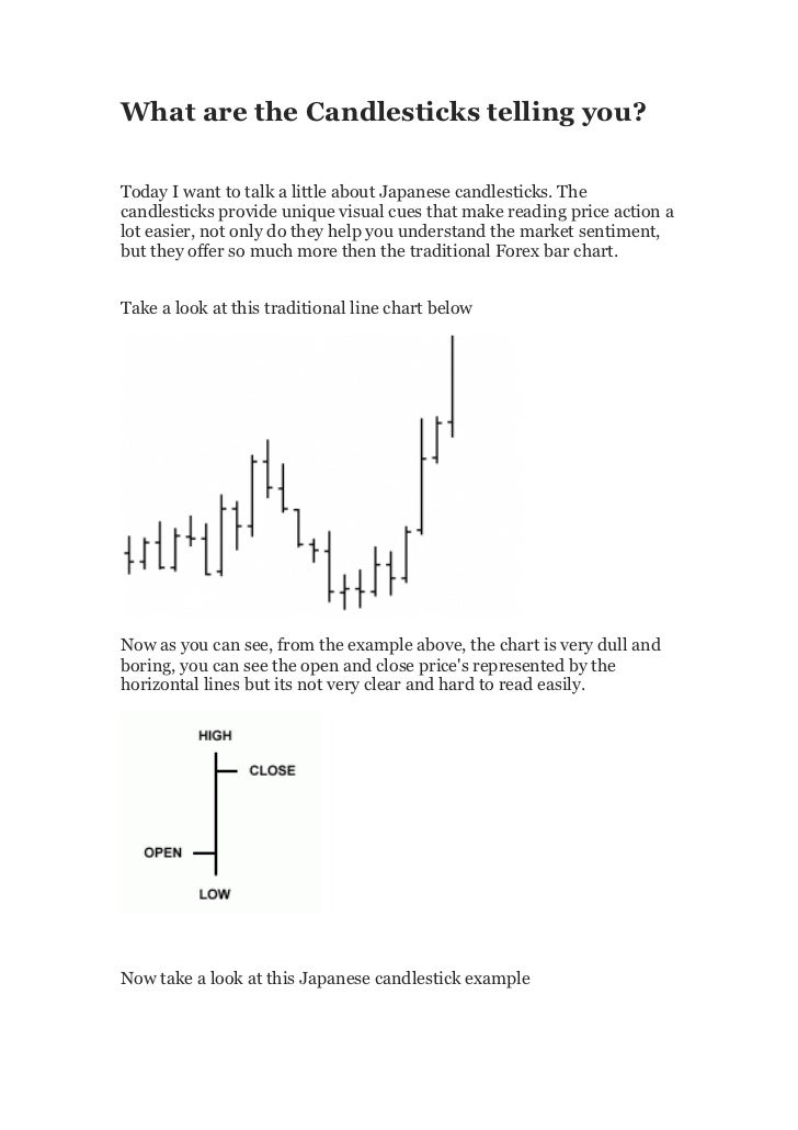 What are the Candlesticks telling you?Today I want to talk a little about Japanese candlesticks. Thecandlesticks provide u...