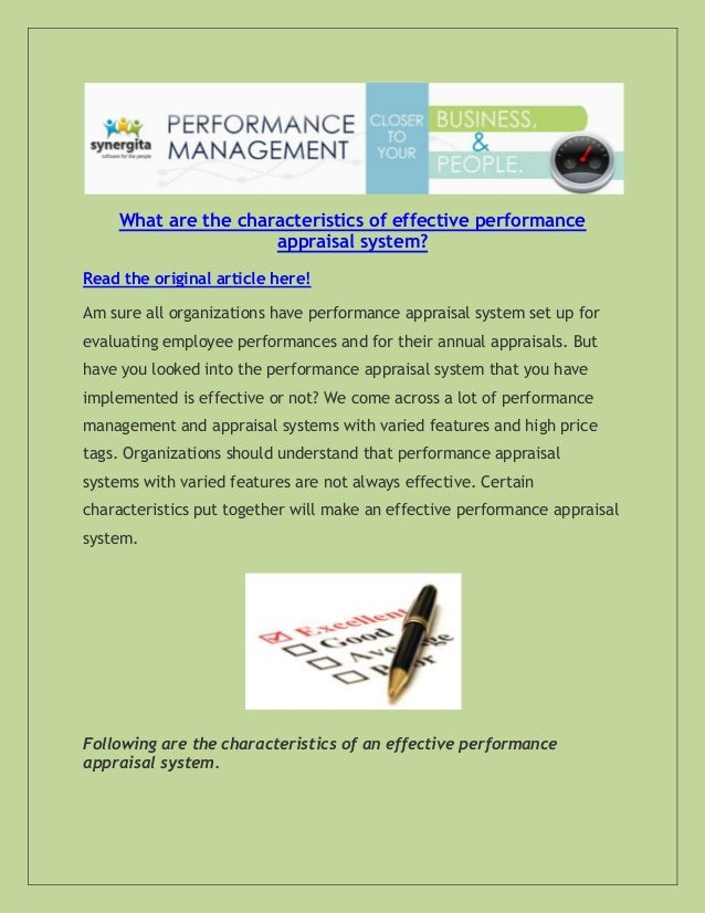 characteristics of effective performance appraisal