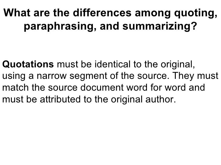 Differences of paraphrasing and summarizing