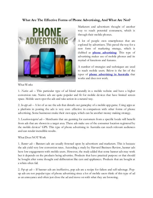 what are the effective forms of phone advertising and what are not rh slideshare net