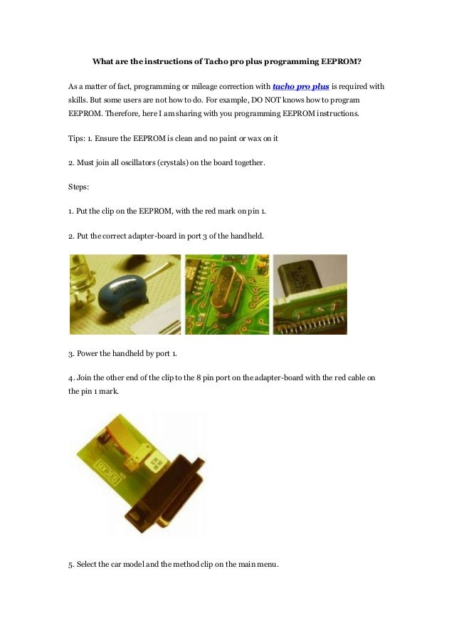 Tacho universal update repair kit user manual.