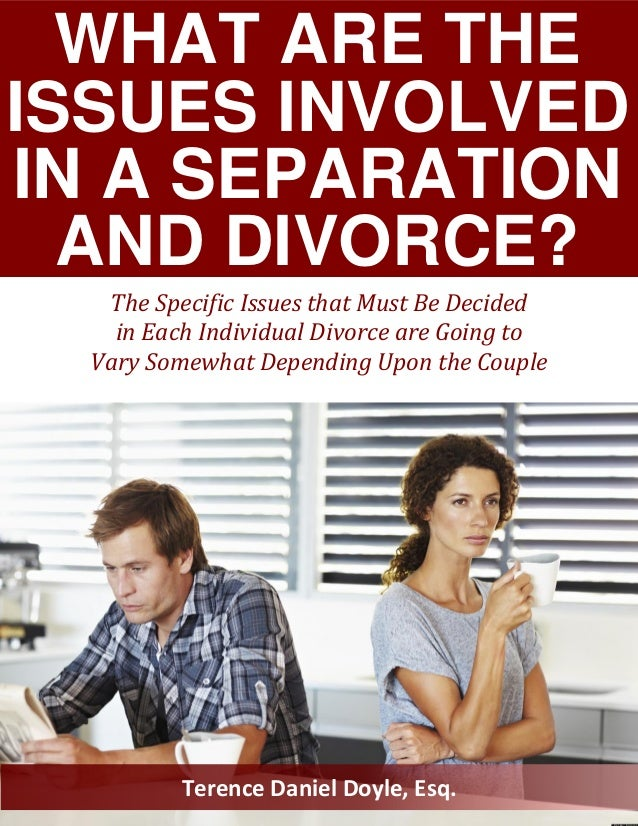 WHAT ARE THE ISSUES INVOLVED IN A SEPARATION AND DIVORCE? Terence Daniel Doyle, Esq. The Specific Issues that Must Be Deci...