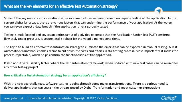 What are the key elements for an effective test automation strategy