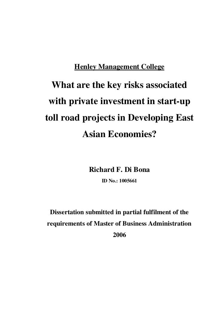Henley Management College What are the key risks associatedwith private investment in start-uptoll road projects in Develo...