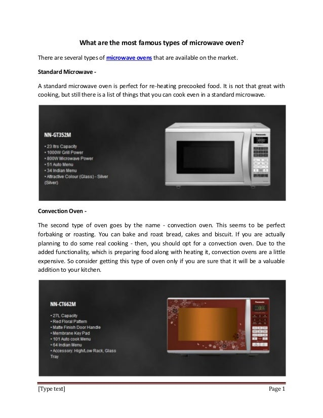 What Are The Most Famous Types Of Microwave Oven