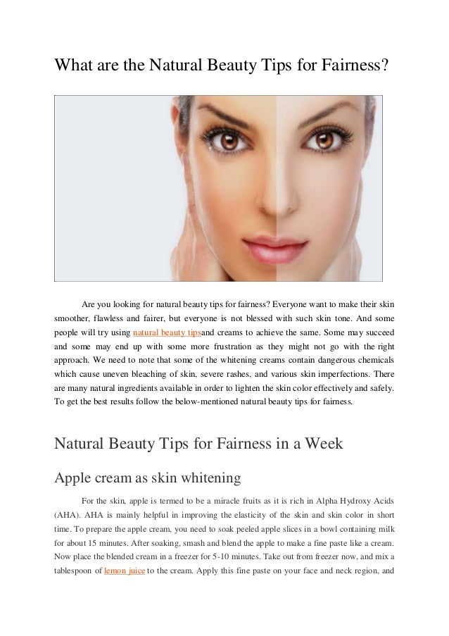 What Are The Natural Beauty Tips For Fairness