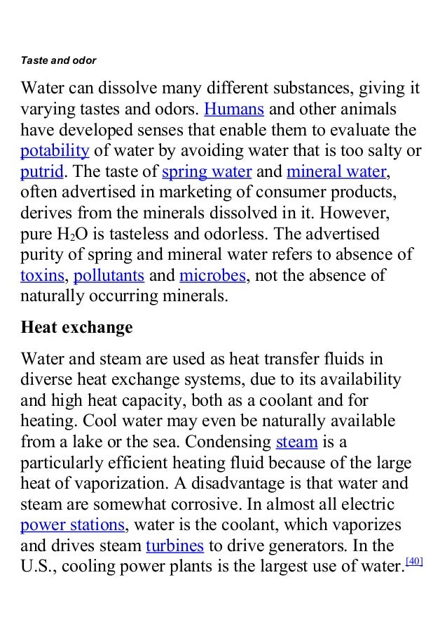 What are the physical characteristics of water