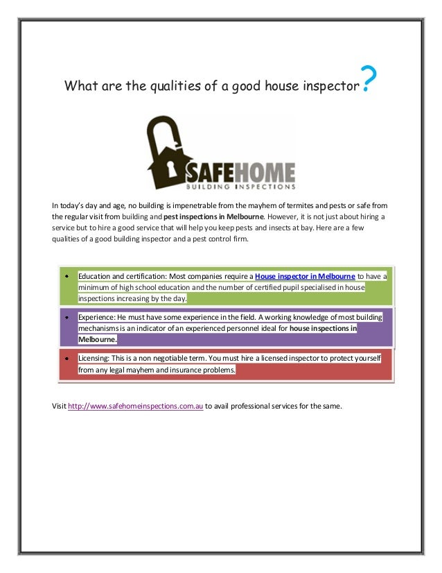 What Are The Qualities Of A Good House Inspector
