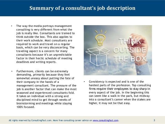 2; 3. Summary Of A Consultantu0027s Job ...
