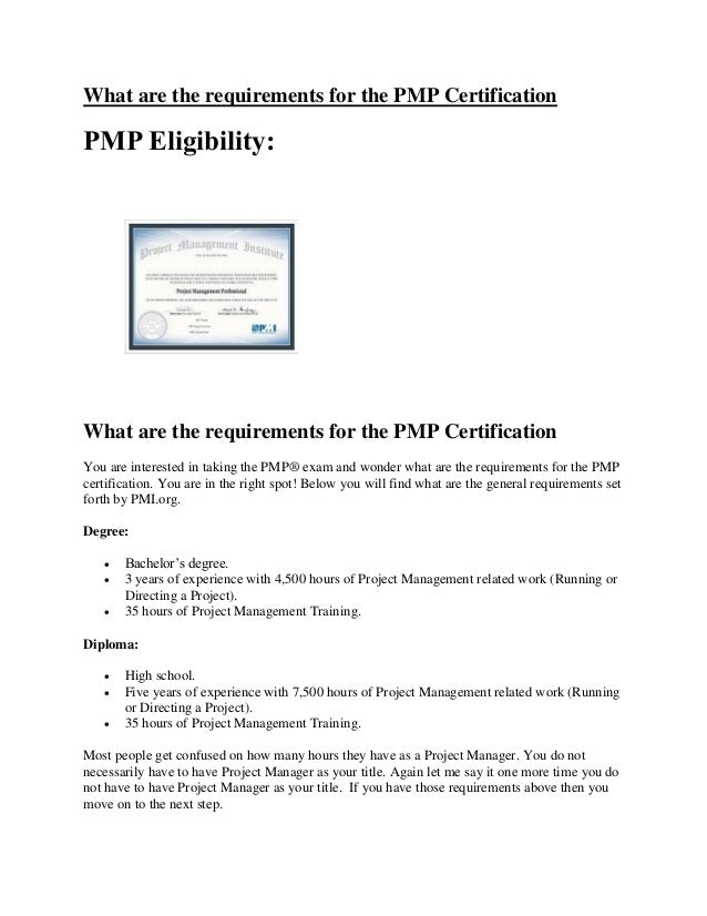 What Are The Requirements For The Pmp Certification