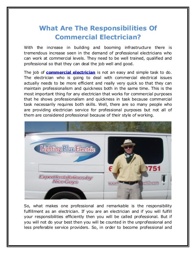 what are the responsibilities of commercial electrician with the increase in building and booming infrastructure