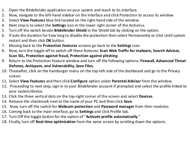 What are the steps to disable all modules in bitdefender 2018?