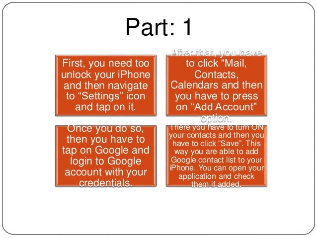 What are the steps to import contacts from gmail to i phone