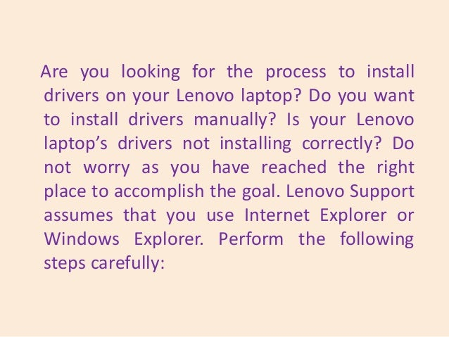 What Are The Steps To Install Drivers On A Lenovo Laptop