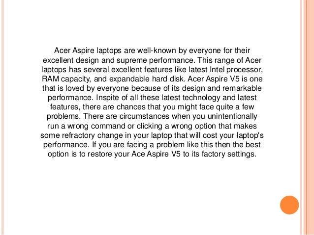 factory reset my acer aspire laptop