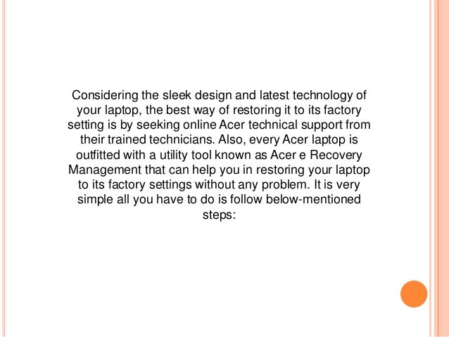 restore acer aspire v5 to factory settings