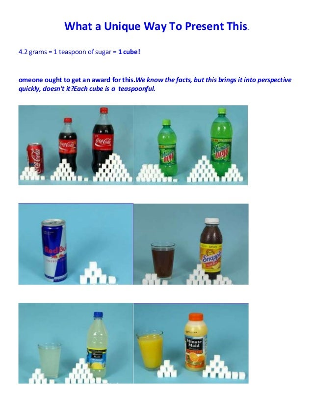 What a Unique Way To Present This.4.2 grams = 1 teaspoon of sugar = 1 cube!omeone ought to get an award for this.We know t...