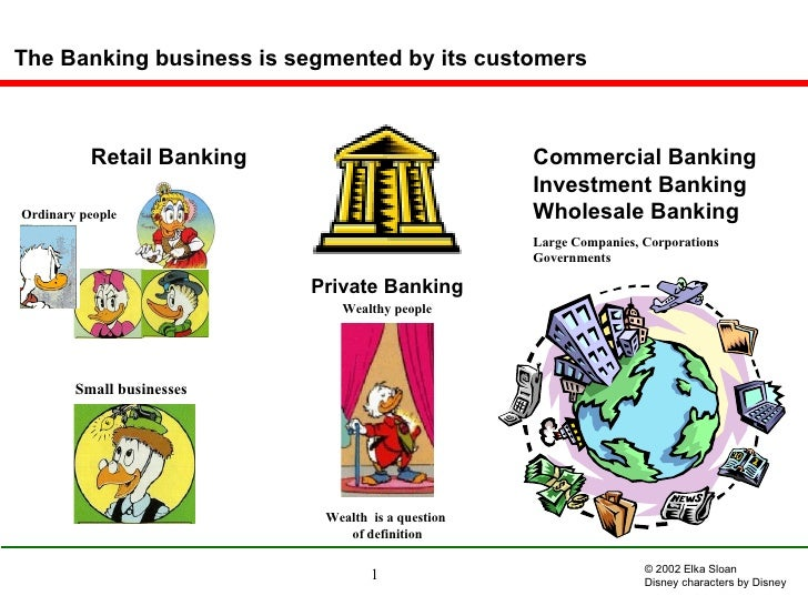 The Banking business is segmented by its customers Ordinary people Wealthy people Small businesses   Large Companies, Corp...