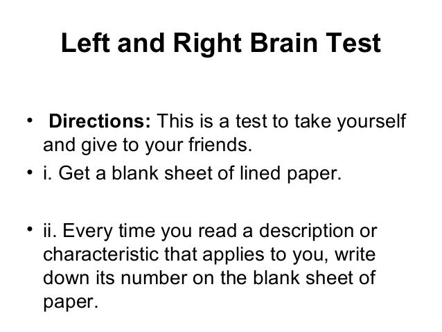 image about Left Brain Right Brain Test Printable named What head are your self