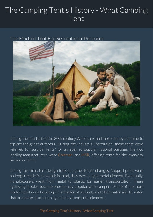 History of the Camping Tent