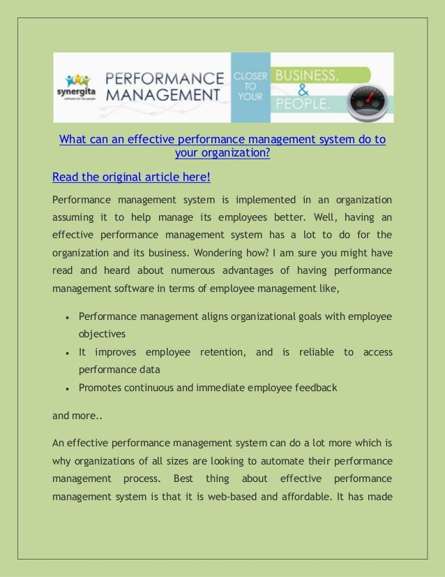 Effective performance management systems essay