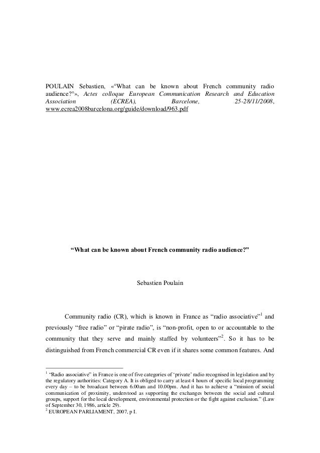 POULAIN Sebastien, «°What can be known about French community radio audience?°», Actes colloque European Communication Res...